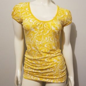 Yellow and White cap sleeve long Top Size S